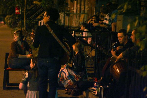 Another group of young musicians serenades the cyclists as they go by.