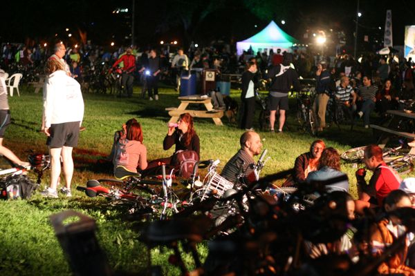 A giant party at Jeanne-Mance Park just before midnight.