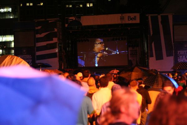 A giant screen near Clark Street was a couple of blocks away from the stage, but still part of the concert.