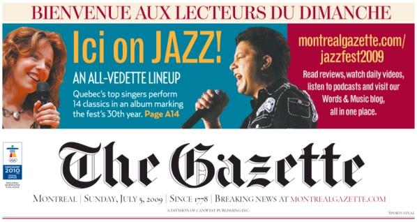 """""""Bienvenue aux lecteurs du dimanche"""" reads the Gazette"""