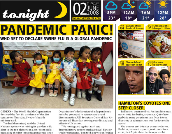 t.o.night newspaper mockup from Blog.TO