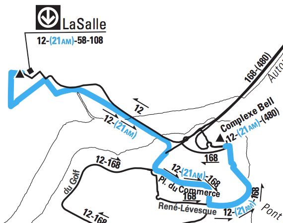 Route of the 21 Place du Commerce (in blue)