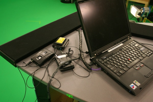 The anchor's desk. Those things on the left are wireless microphones for the anchor and her guests.