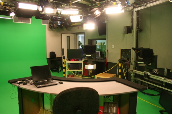 View from behind the anchor's desk