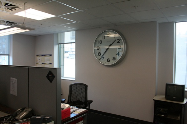 A giant clock in the newsroom ensures nobody ever misses deadline (well, in theory anyway)