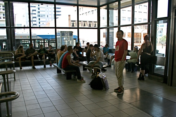 Participants gather at Sherbrooke metro as requested