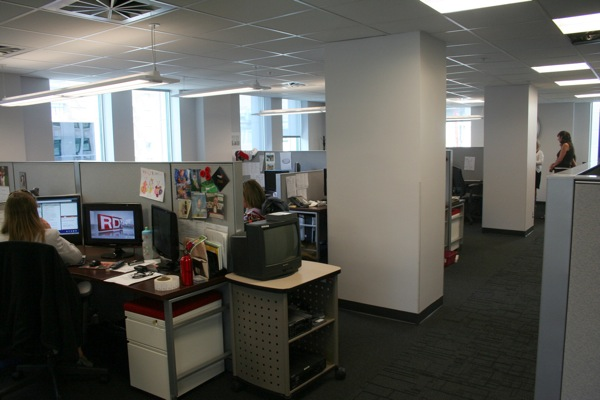The newsroom in all its cubicular glory