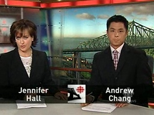 Jennifer Hall and Andrew Chang try out their new anchor chairs