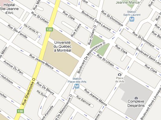 Rue de Montigny sticks out like an appendix from de Maisonneuve Blvd.
