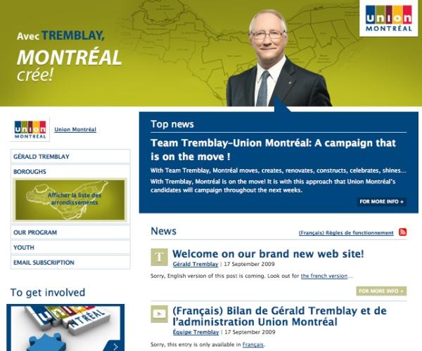 "Union Montreal's ""English"" website"