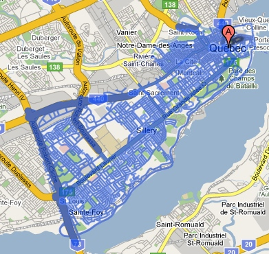 Google Street View map for Quebec City