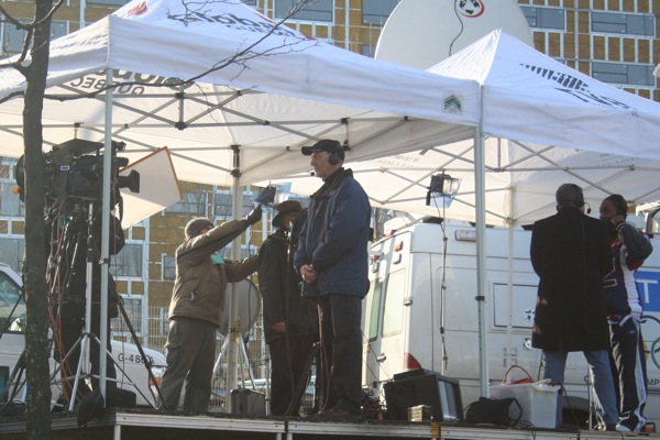 Ken Connors in the Global TV tent (Global covered the parade mostly form their studio). The TVA tent is on the right.