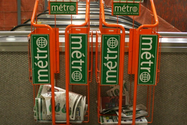 Métro newspaper stands in 2010.