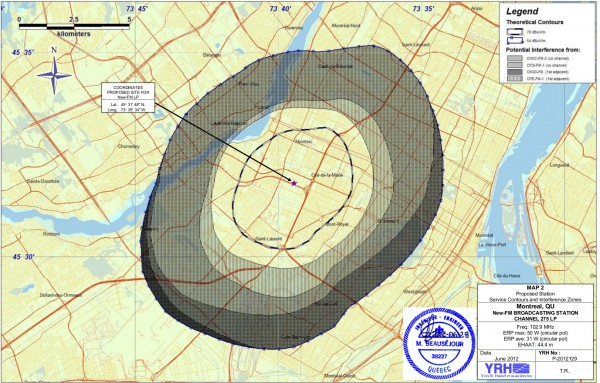 Broadcast contours and interference zones for proposed new FM station (click for larger)