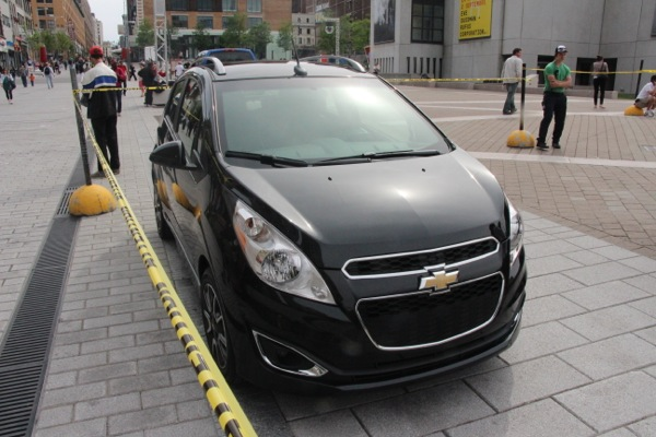 Chevrolet Spark. This car (or one like it in a different colour) will be given out in a draw to one of the fans who shows up for the broadcast.