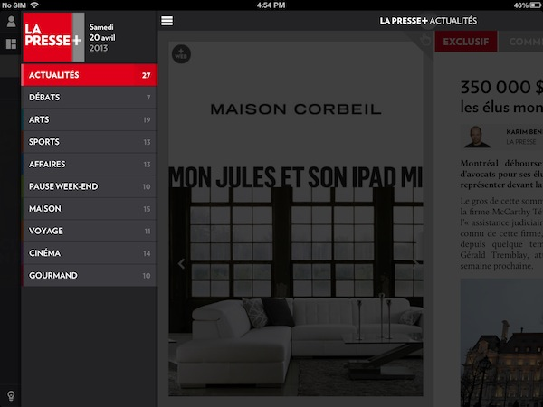 The La Presse+ main menu