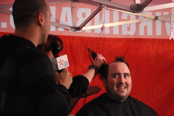 Virgin's Mike D is the last of a handful of the station's personalities to shave.