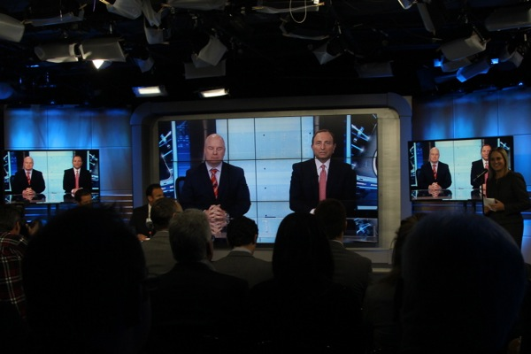 TVA press conference on NHL deal. Scott Moore of Rogers and Gary Bettman of the NHL join by videoconference from Toronto.