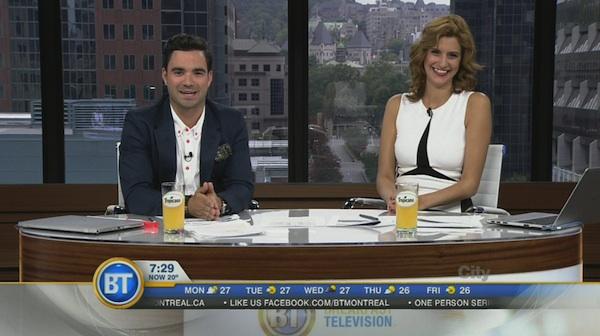 Breakfast Television hosts Alexandre Despatie and Joanne Vrakas