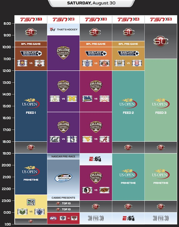 Schedule grid of TSN's five channels for this Saturday.