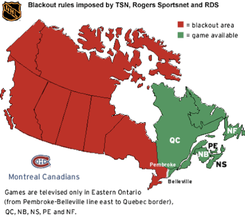 The Canadiens broadcast region. Map via Shaw Direct