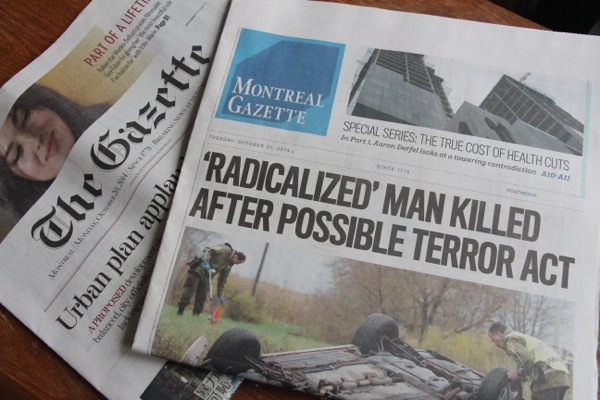 Monday and Tuesday editions of the Montreal Gazette