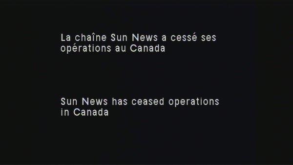 Sun News notice on Videotron's cable system