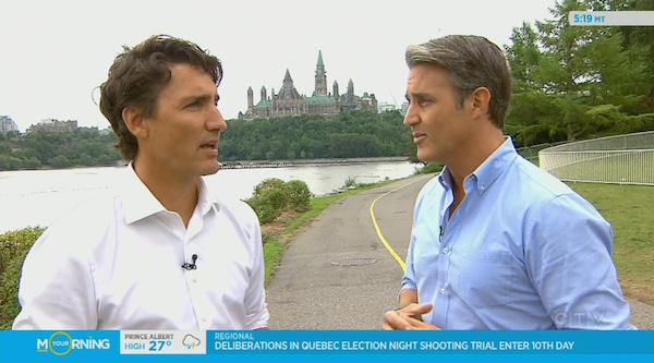 Two children of former Canadian prime ministers chatting in Ottawa. (My sympathies with anyone who was hoping to use this bike path at the time.)