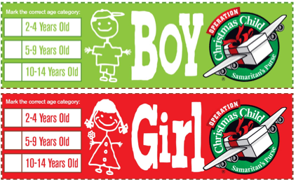 boy girl labels for SHOEBOX