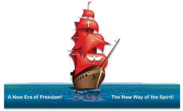sailing ship red sail new era Spirit