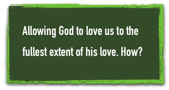 allowing God to love us green box text