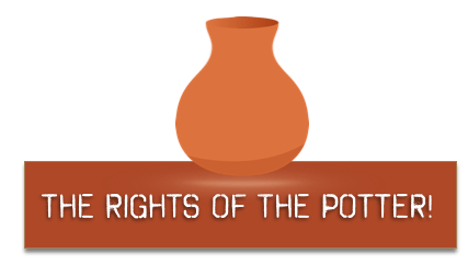 rights of the potter text terra cotta pot