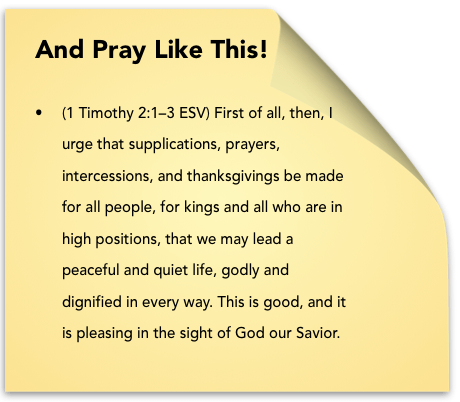 sticky note pray like this 1 Timothy 2-1-3
