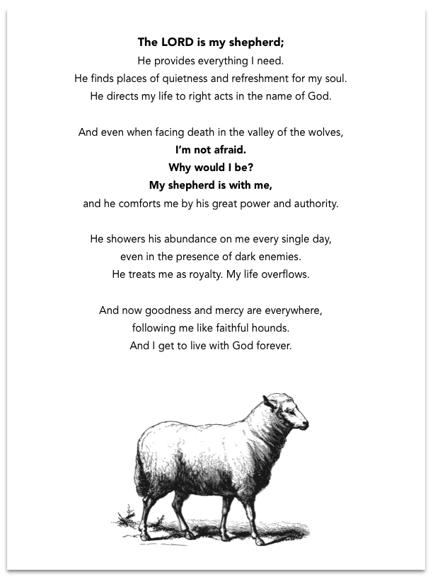 the LORD is my shepherd dave paraphrase