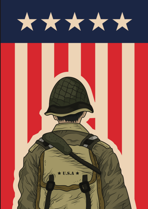memorial day soldier rear view flag background
