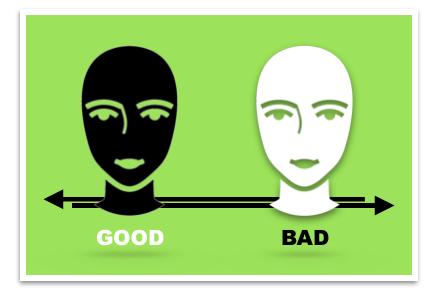 green box good bad white black heads depravity