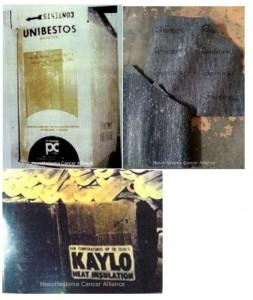 Pittsburgh Corning Unibestos Insulation, manufactured with asbestos from 1962-1972. Garlock Compressed Asbestos Gasket sheet. Owens-Corning Kaylo Pipe Insulation, manufactured with asbestos from mid-1950s to the mid-1970s.