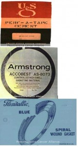 """USG Perf-A-Tape Cement. Armstrong Accobest Gasketing Material, manufactured with asbestos in the mid-1960s. Flexitallic Blue Spiral Wound Gaskets, known for their distinct """"Flexitallic Blue"""" color and made from 1912-1980."""