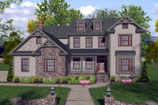 Traditional House Plan with 4 Bedrooms and 4 Bathrooms