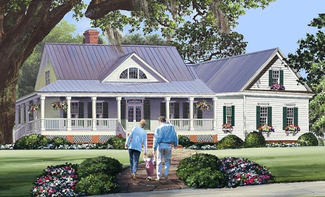 Wrap-Around Porch: Country Style Home Plans