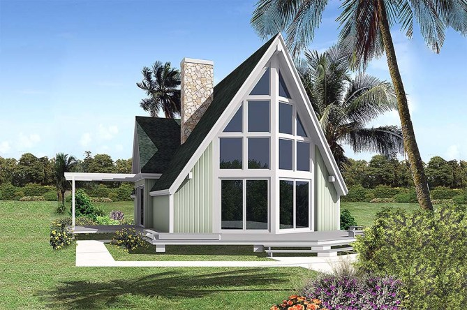 A-Frame House Plans With Floor-To-Ceiling Windows