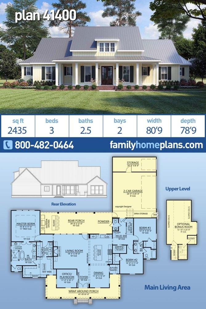 Popular Modern Farmhouse Plan With Wraparound Porch Family Home Plans Blog