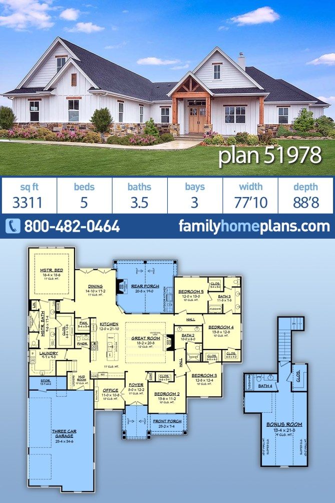 5 bedroom modern craftsman style home plan with interior