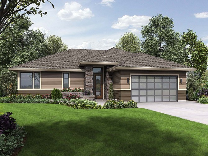 3 Bedroom Contemporary Ranch Style Home Plan With 1759 SQ FT