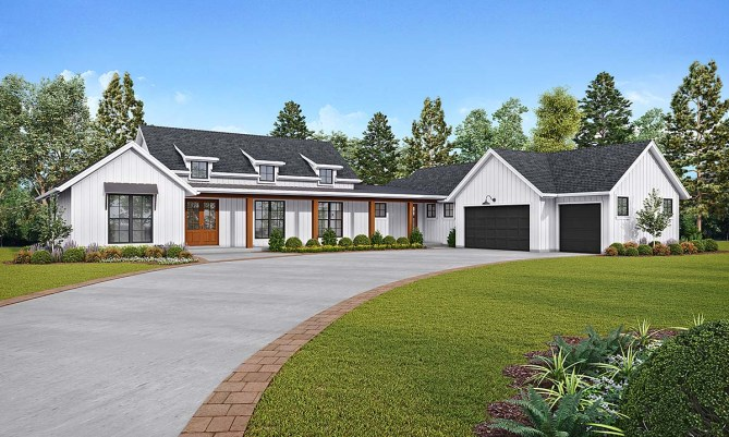 New Modern Farmhouse Plan With 3 Bedrooms and 3 Car Garage