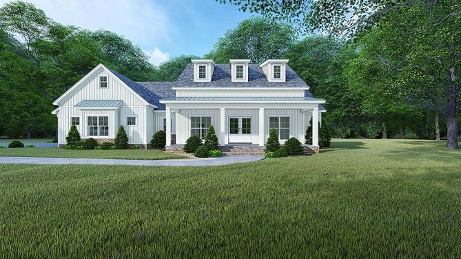 4 Bedroom Farmhouse Plan With Grilling Porch and Outdoor Fireplace