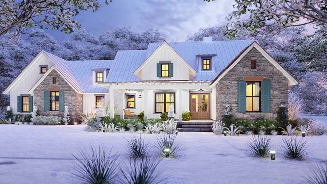 Craftsman Farmhouse Plan With Bonus Room and BBQ Grilling Porch