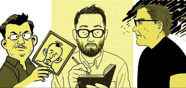 Cartoonists Jaime Hernandez, Adrian Tomine, and Gilbert Hernandez