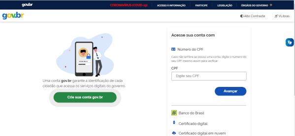 Portal Gov para cadastrar o certificado digital