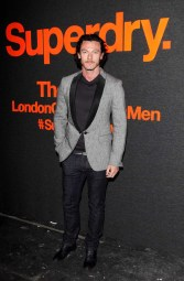 LONDON, ENGLAND - JANUARY 07: Luke Evans arrives at the Superdry AW14 catwalk event as part of London Collections: Men at The Old Sorting Office on January 7, 2014 in London, England. (Photo by David M. Benett/Getty Images for Superdry) *** Local Caption *** Luke Evans